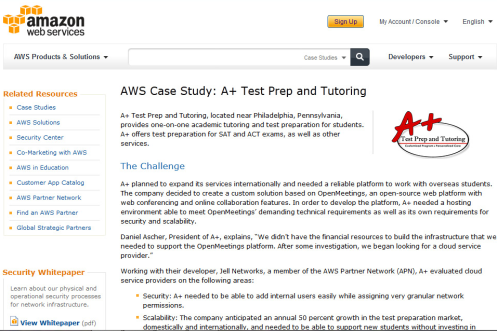 Amazon Web Services Case Study of iCollaborate and A+ Test Prep and Tutoring