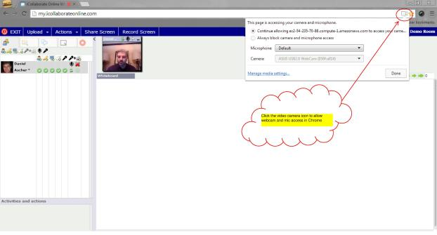Allow webcam and mic access in Chrome browser